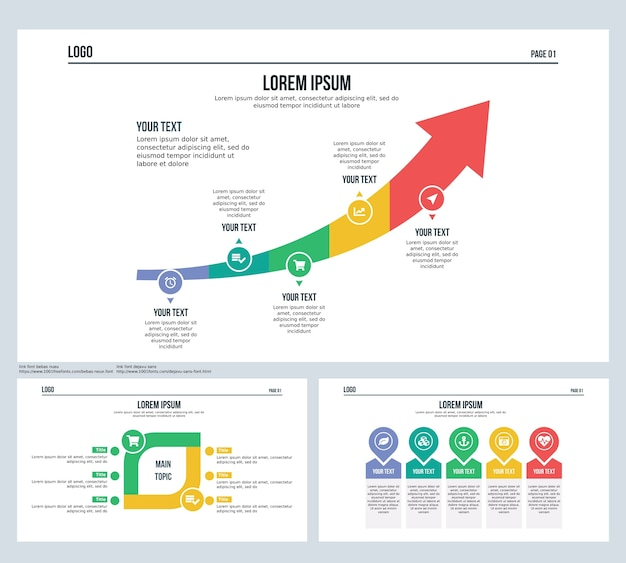 Lucro dinheiro seta elemento de comparação conjunto apresentação slide e powerpoint template