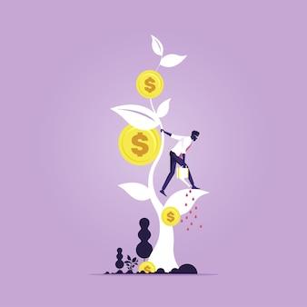 Lucro do investimento empresarial, receita e metáfora do rendimento
