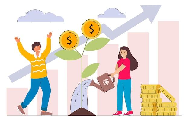 Lucro do investimento familiar homem e mulher pegando dinheiro da árvore do dinheiro financiamento da estratégia dos investidores