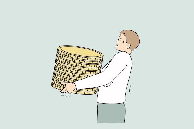 Lucro, ganhar dinheiro, conceito de sucesso financeiro. personagem de desenho animado do jovem trabalhador empresário carregando uma pilha de moedas de ouro nas mãos, o que significa riqueza e lucro.