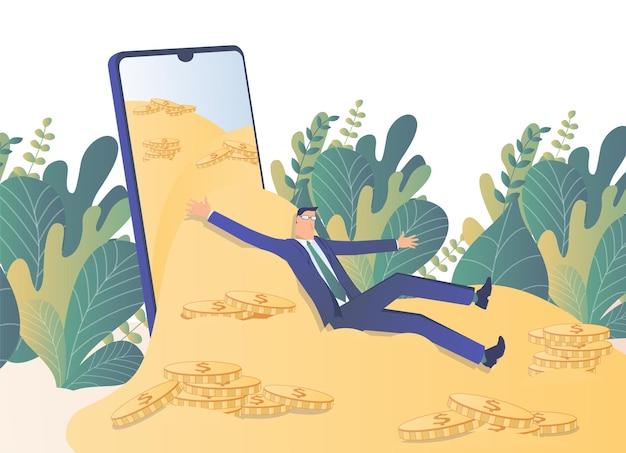 Lucro móvel um empresário desce uma montanha de moedas de ouro em seu smartphone