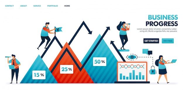 Lucros da empresa em um gráfico de triângulo, etapa do progresso nos negócios e relatório do plano de estratégia corporativa.