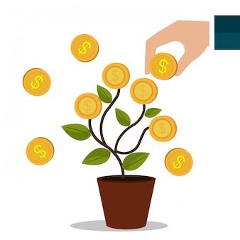 Lucros em dinheiro e negócios