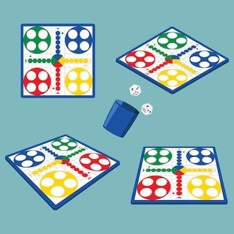 Ludo jogo de tabuleiro em diferentes perspectivas
