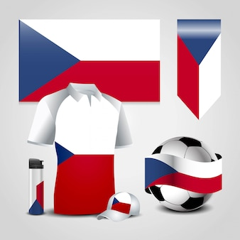 Lugar da bandeira de país da república checa em camiseta