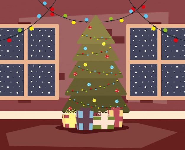 Lugar de casa feliz natal mery com cena de árvore e presentes
