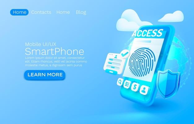 Lugar de conceito de banner de aplicativo de login em smartphone para vetor de serviço móvel de autorização de aplicativo on-line de texto
