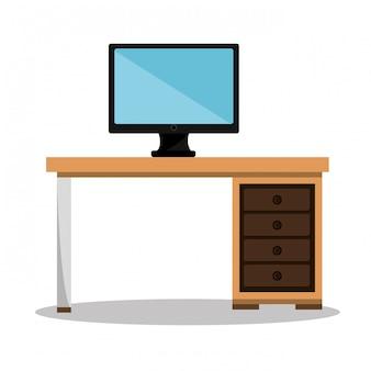 Lugar de trabalho de escritório isolado ícone do design