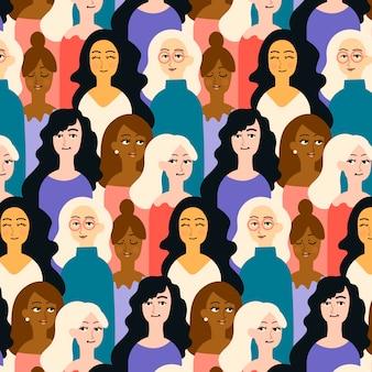 Lugar lotado padrão com rostos femininos