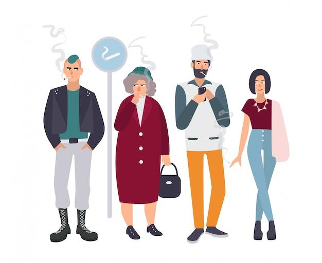 Lugar para fumar. pessoas diferentes no intervalo para fumar. homem e mulher com cigarros. ilustração em estilo simples.