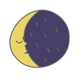 Luna é um personagem no estilo de desenho animado uma lua crescente no céu noturno rosto desenho à mão