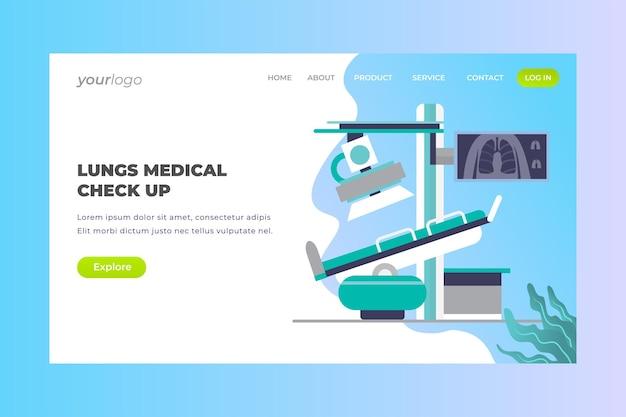 Lungs medical check up - página de destino do vetor