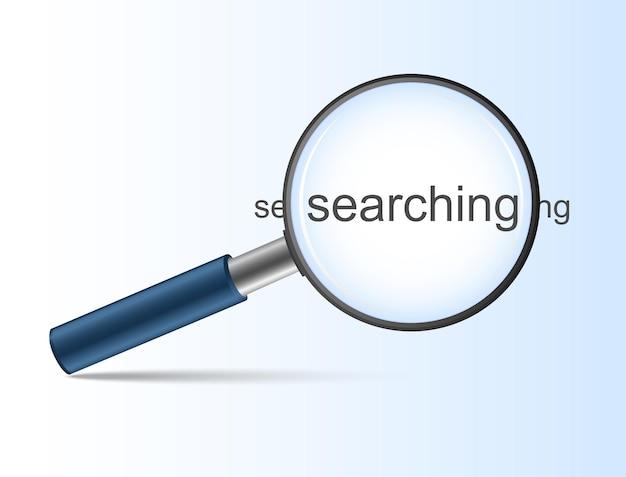 Lupa azul com pesquisa de pesquisa