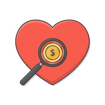 Lupa com foco no grande coração vermelho