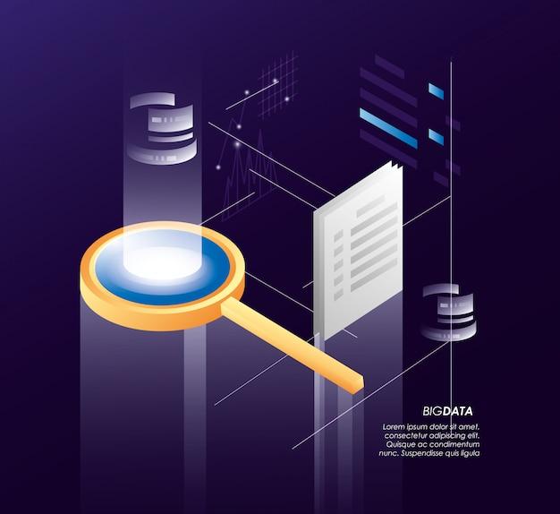 Lupa com ícones de data center