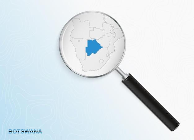 Lupa com mapa de botswana em fundo topográfico abstrato.