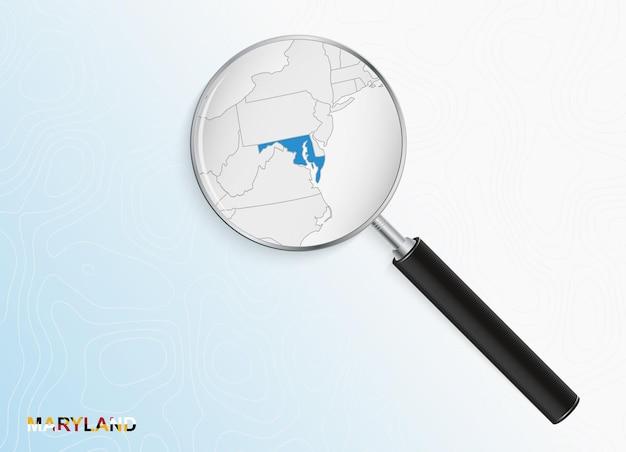 Lupa com mapa de maryland em fundo topográfico abstrato.