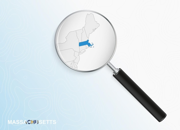 Lupa com mapa de massachusetts em fundo topográfico abstrato