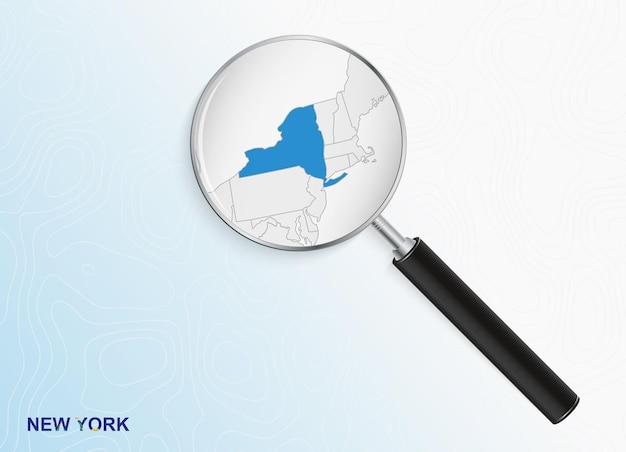 Lupa com mapa de nova york em fundo topográfico abstrato.