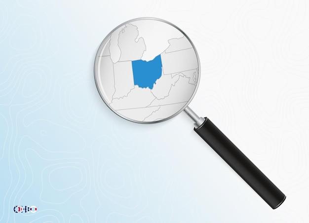 Lupa com mapa de ohio em fundo topográfico abstrato