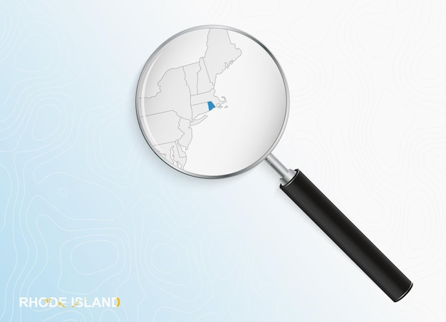 Lupa com mapa de rhode island em fundo topográfico abstrato