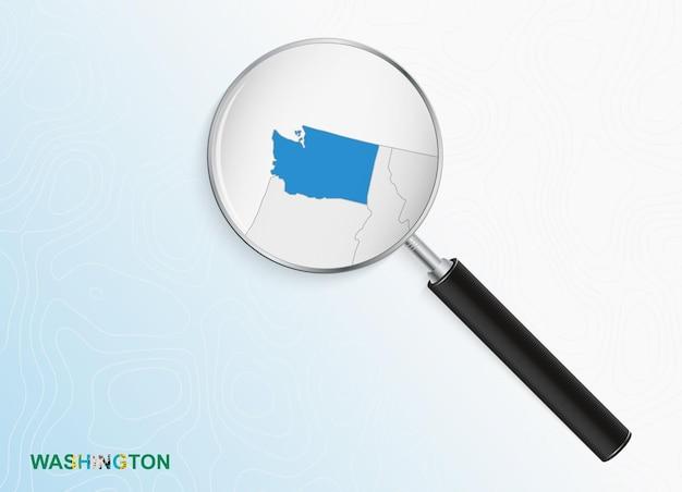 Lupa com mapa de washington em fundo topográfico abstrato.