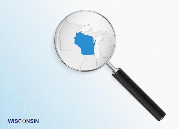 Lupa com mapa de wisconsin em fundo topográfico abstrato.