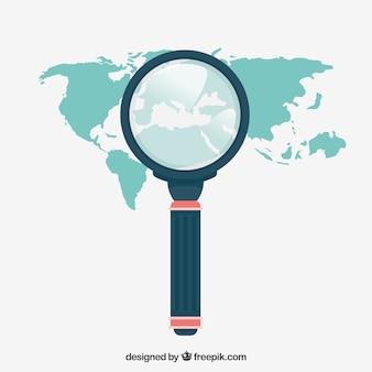 Lupa com mapa em estilo simples
