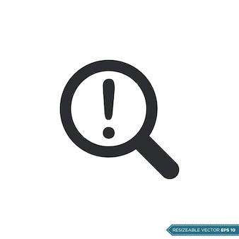 Lupa de exclamação, design de ilustração de símbolo vetorial de ícone de interface do usuário / ux