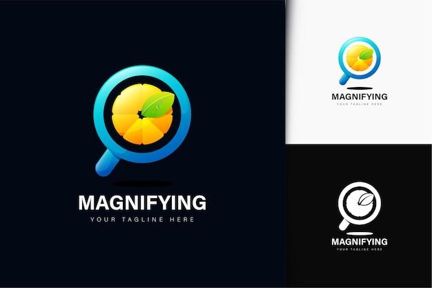 Lupa e logotipo de frutas