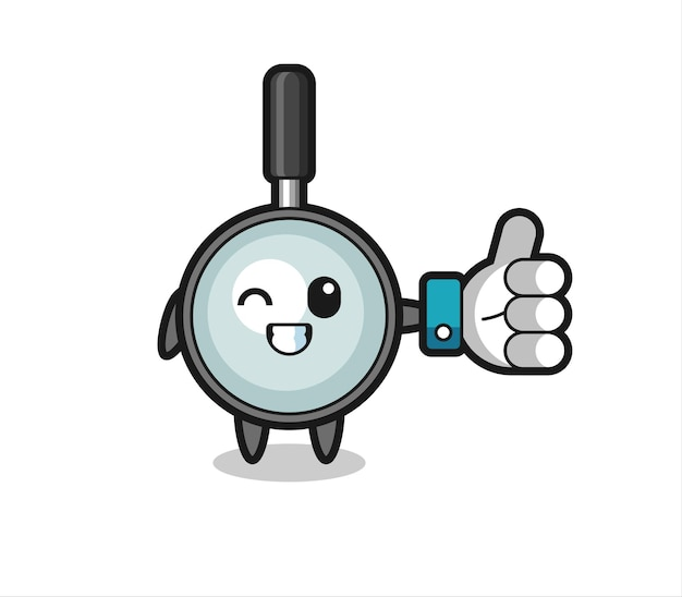 Lupa fofa com símbolo de polegar para cima de mídia social, design de estilo fofo para camiseta, adesivo, elemento de logotipo