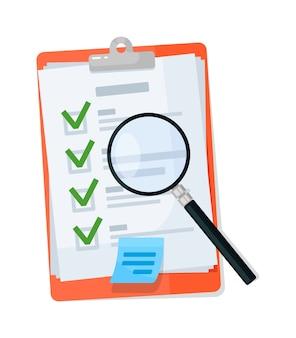 Lupa na prancheta da lista de verificação isolada no branco