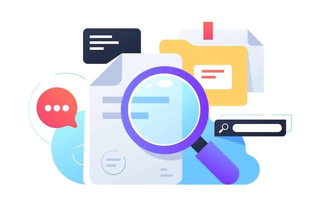 Lupa pesquisando informações usando documentos e internet. equipamento de conceito isolado para coleta de dados usando serviço web, pastas e online.