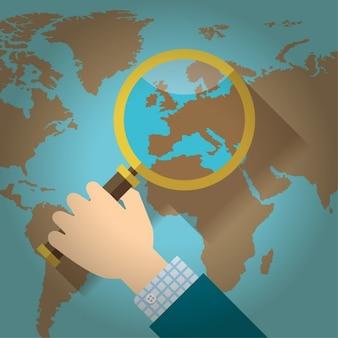 Lupa sobre um design plano mapa do mundo