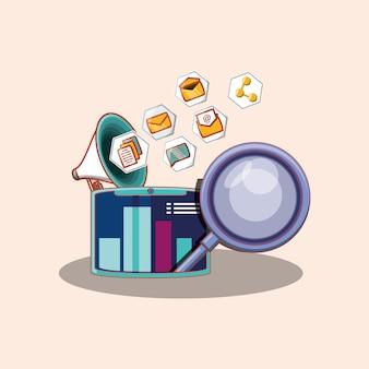 Lupe e tablet com ícones relacionados de mídia social