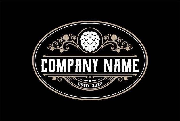 Lúpulo antigo vintage para design de logotipo de cervejaria artesanal de cerveja artesanal em vetor