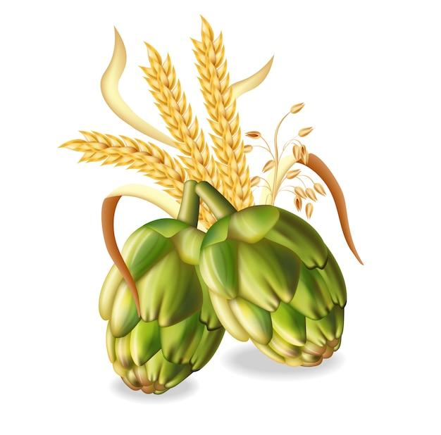 Lúpulo e espigas de trigo