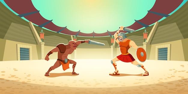 Luta de gladiador com bárbaro na ilustração de arena do coliseu