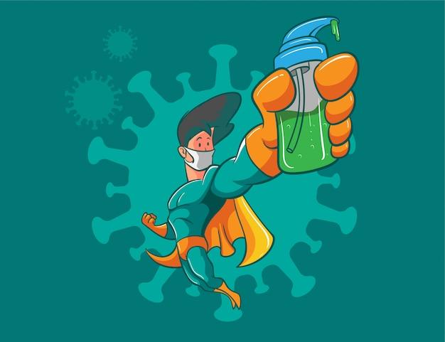Luta de super-herói contra ilustração de coronavírus