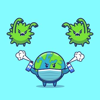 Luta mundial corona virus icon ilustração. personagem de desenho animado de mascote de corona. conceito de ícone do mundo isolado