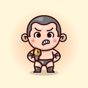 Lutador bonito de cabelo curto masculino em equipamento preto parece furioso e traz um cinto campeão