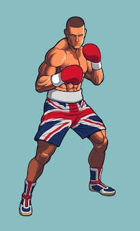 Lutador de boxe, vestindo calções de bandeira do reino unido