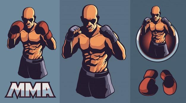 Lutador de mma com luvas de boxe opcionais