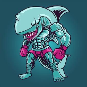 Lutador de tubarão boxe