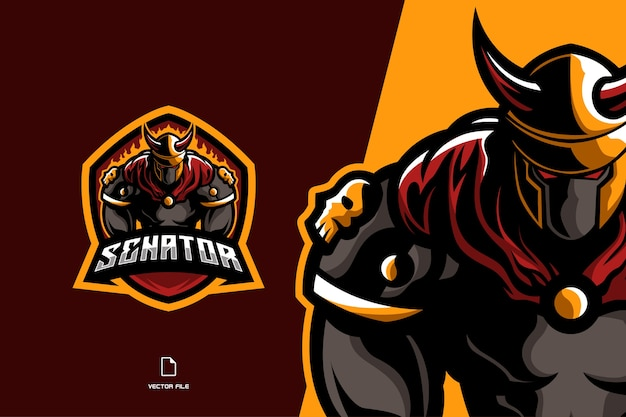 Lutador espartano viquingue mascote logotipo jogo esporte tempalte ilustração