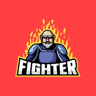 Lutador forte com ilustração de fogo