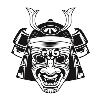 Lutador japonês em máscara preta. guerreiro tradicional do japão. ilustração em vetor vintage isolada