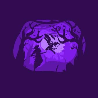 Lutadores noturnos de ilustração de cor