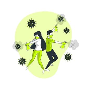 Lutando contra a ilustração do conceito de coronavírus