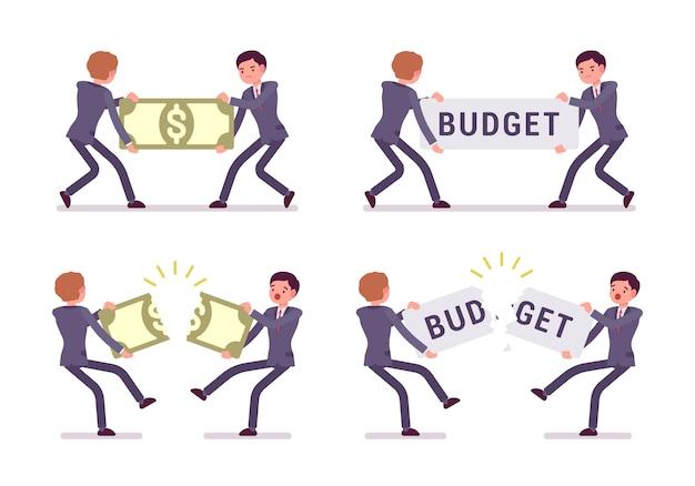 Lutando por um orçamento de papernote e palavra